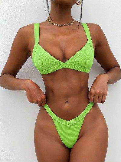 ZAFUL Frech Bikini Badebekleidung Mit Gerippten Rippen - Grün M