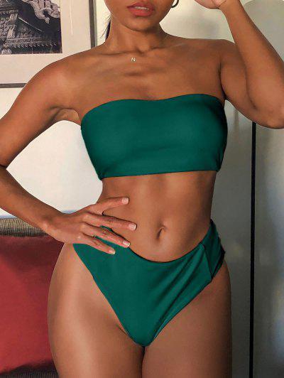 ZAFUL Textured High Waisted Bandeau Bikini Swimsuit - Deep Green L