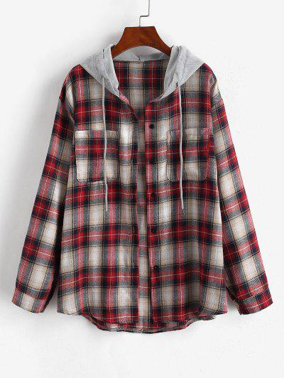 Hooded Checked Front Pocket Jacket - Red M