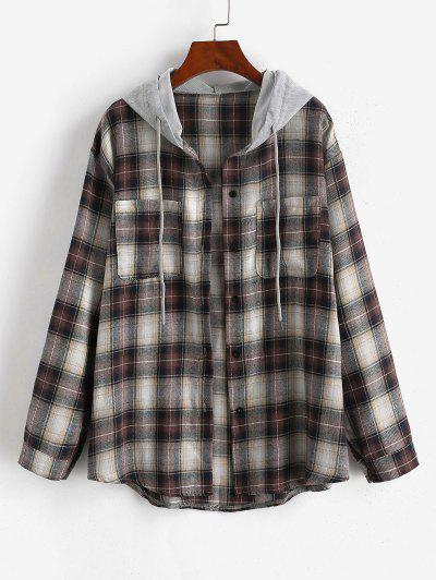 Hooded Checked Front Pocket Jacket - Deep Coffee S