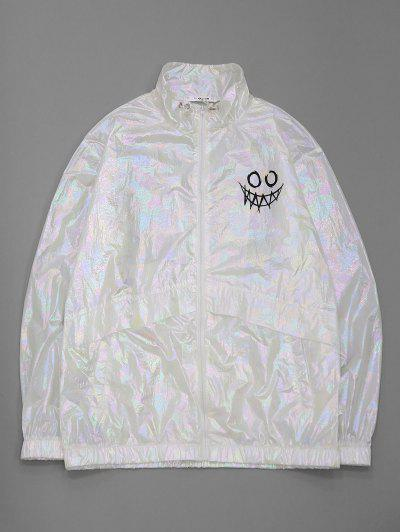 ZAFUL Cartoon Face Print Iridescent Color Jacket - White M