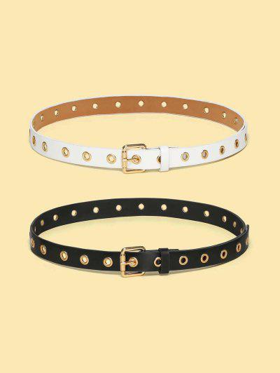 Punk Grommet Rivet Embellished Buckle Belt Set - Multi