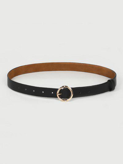 Circular Rhinestone Buckle Belt - Black