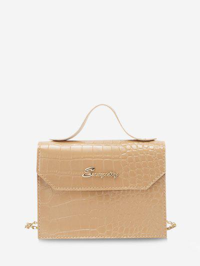 Letter Pattern Chain Crossbody Bag - Camel Brown