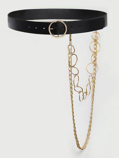 Layered Detachable Chains Buckle Belt - Black