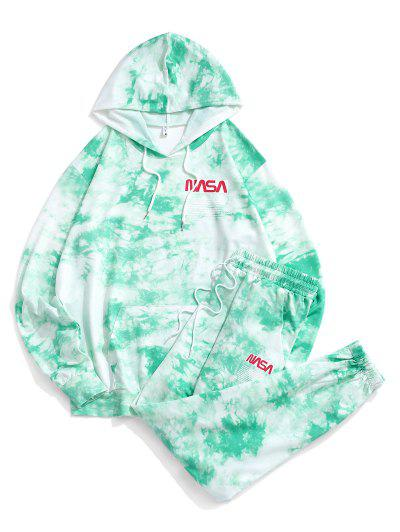 Letter Pattern Tie Dye Hoodie And Pants Set - Green 2xl