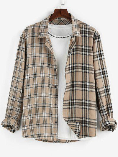 ZAFUL Plaid Print Long Sleeve Shirt - Light Coffee S