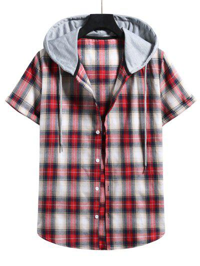 Plaid Print Short Sleeve Color Blocking Hooded Shirt - Lava Red Xl