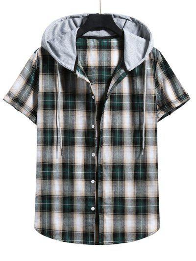 Plaid Print Short Sleeve Color Blocking Hooded Shirt - Dark Forest Green L