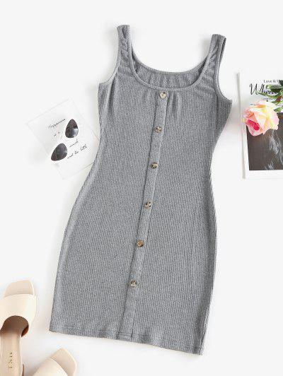 ZAFUL Ribbed Mock Button Bodycon Tank Dress - Gray S
