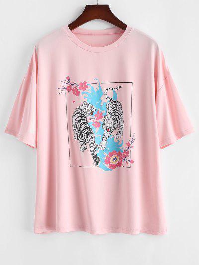 ZAFUL T-Shirt Motif Tigres Et Fleurs Style Graphique Grande-Taille - Rose Clair L