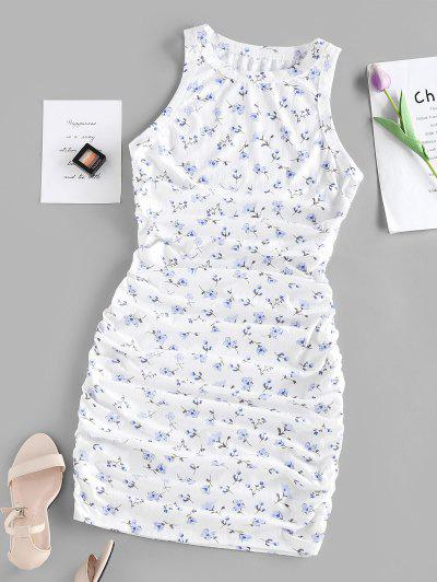 ZAFUL Ruched Tiny Floral Print Bodycon Dress - White S