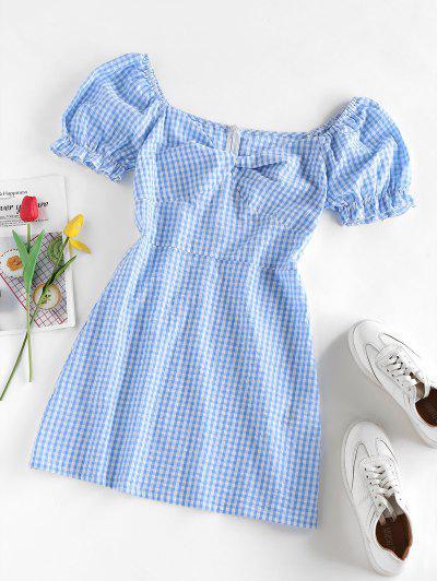 ZAFUL Gingham Twisted Ruffle Puff Sleeve Dress - Light Blue M