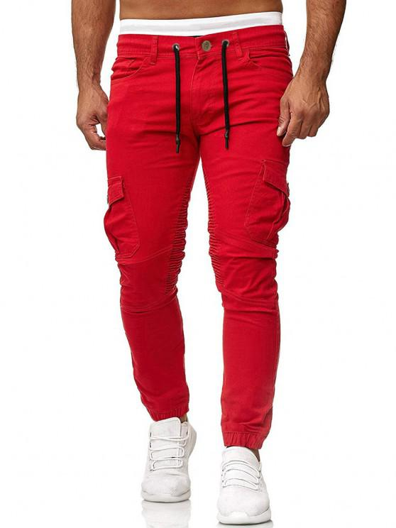 Pantalones Trotar Plisados Cordón Ajustable - Rojo M