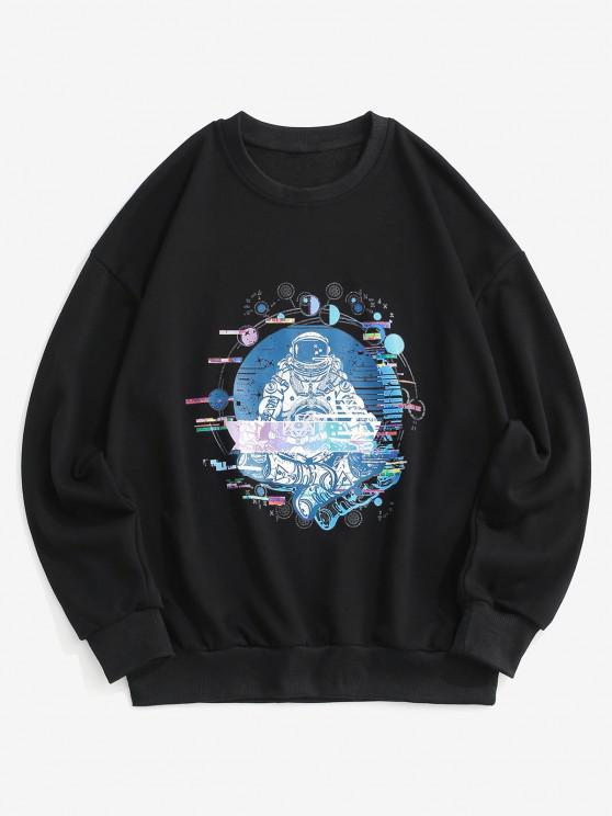 fancy Planet Astronaut Graphic Drop Shoulder Sweatshirt - BLACK L