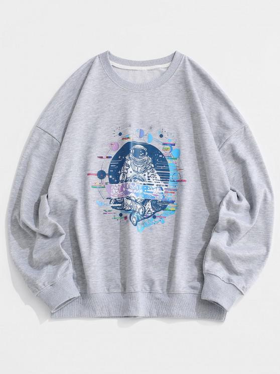 unique Planet Astronaut Graphic Drop Shoulder Sweatshirt - LIGHT GRAY L