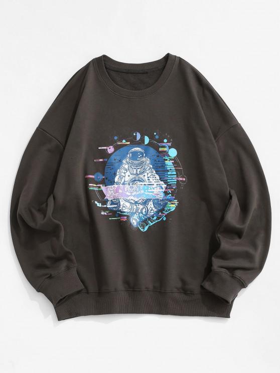 affordable Planet Astronaut Graphic Drop Shoulder Sweatshirt - DARK GRAY 2XL