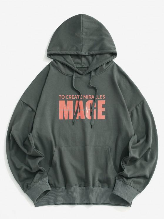 Mage Letter Print Drop Shoulder Hoodie - الرمادي الداكن XL