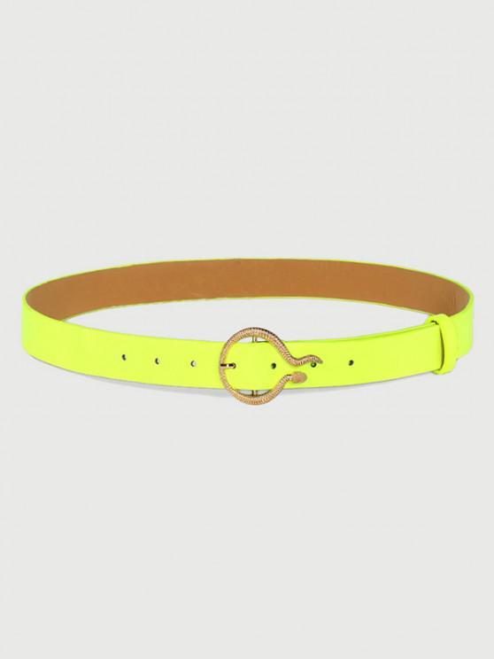 Cinturón Fluorescente de Hebilla de Serpiente Tallada - Té Verde