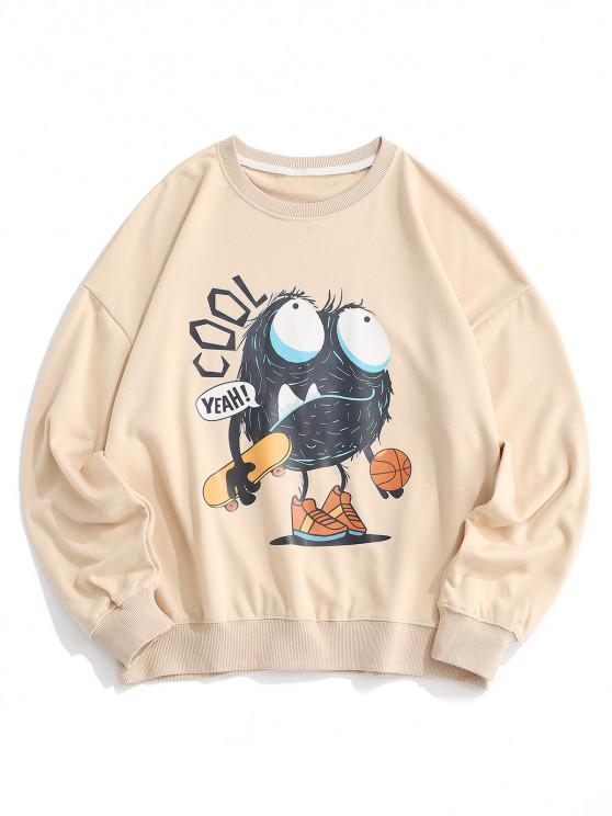 Cartoon Letter Print Drop Shoulder Sweatshirt - ضوء الكاكي M