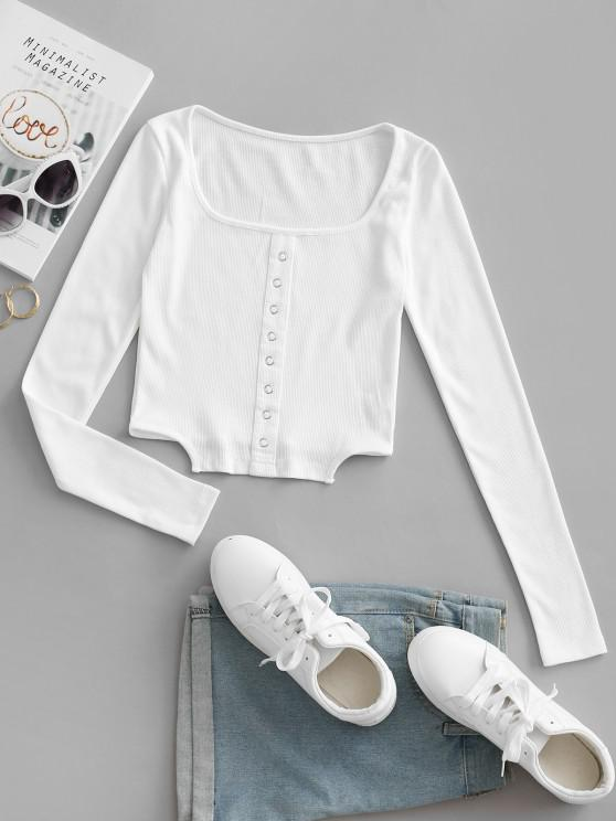 chic Square Collar Rib-knit Grommets Crop Top - WHITE L