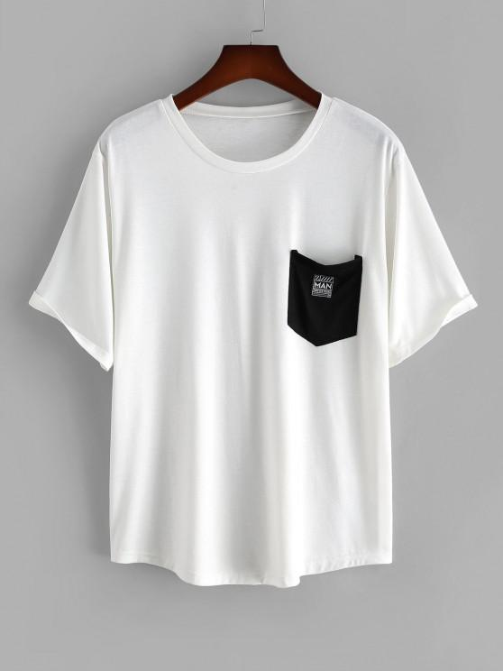 Colorblock Pocket Patched Short Sleeve T-shirt - أبيض L