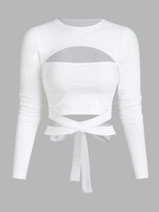 womens Cutout Tie Around Crop Top - WHITE M