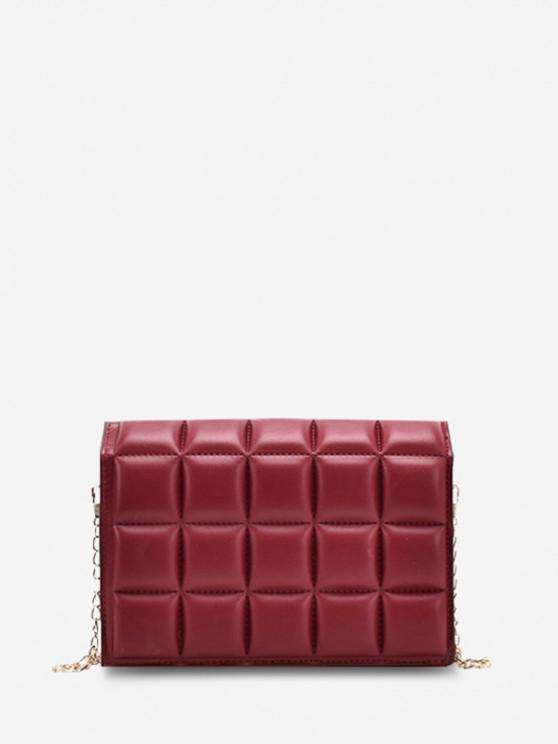 chic Soft Chocolate-Quilted Flap Solid Chain Crossbody Bag - LAVA RED
