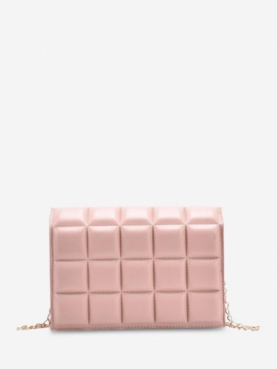 Weiche Cropped Gesteppte Einfarbige Kette Umhängetasche - Rosa