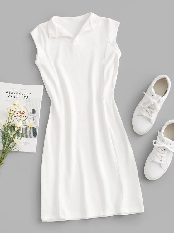 V-notch Cap Sleeve Sheath Jersey Dress - أبيض M