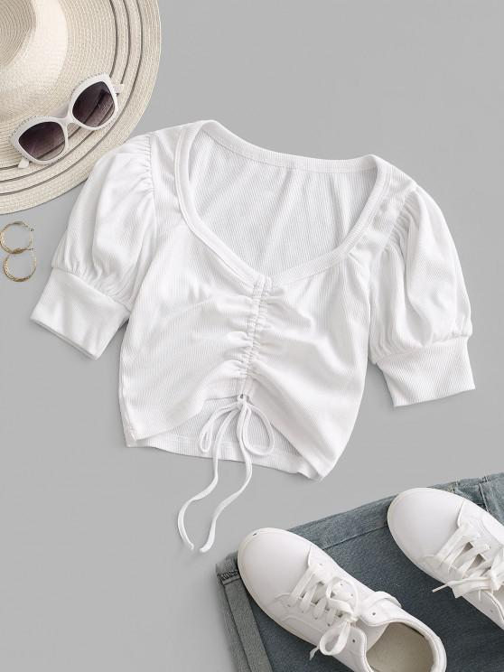 new Rib-knit Cinched Ruched Puff Sleeve Crop Top - WHITE M