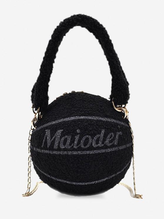 latest Fleece Basketball Shape Letter Print Double Handle Strap Chain Bag - BLACK