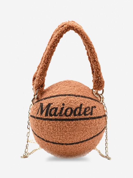 fashion Fleece Basketball Shape Letter Print Double Handle Strap Chain Bag - LIGHT BROWN