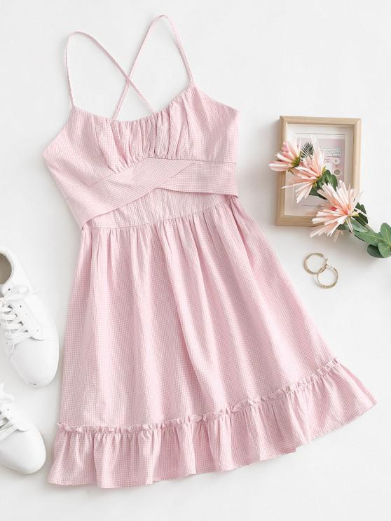chic Spaghetti Strap Flounce Ruched Bust Gingham Sundress - LIGHT PINK S
