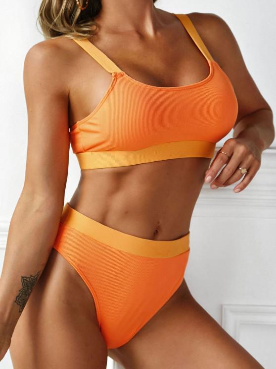 ZAFUL Patchwork Ribbed Tank Bikini Swimwear - البرتقالي M