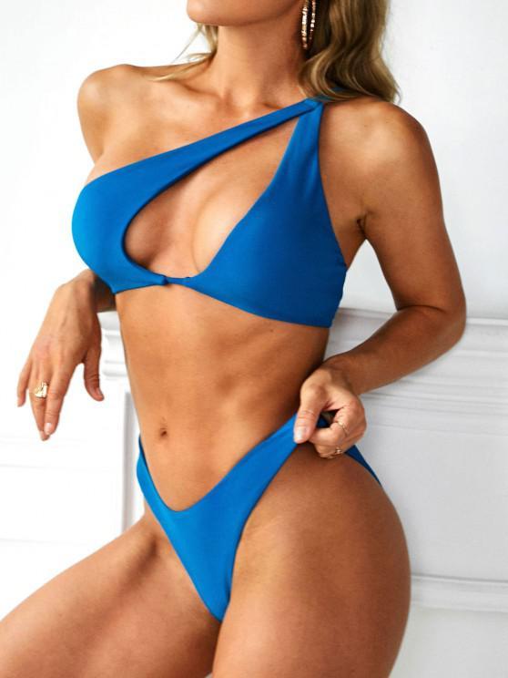 shop ZAFUL One Shoulder Cut Out High Cut Cheeky Bikini Swimwear - BLUE S