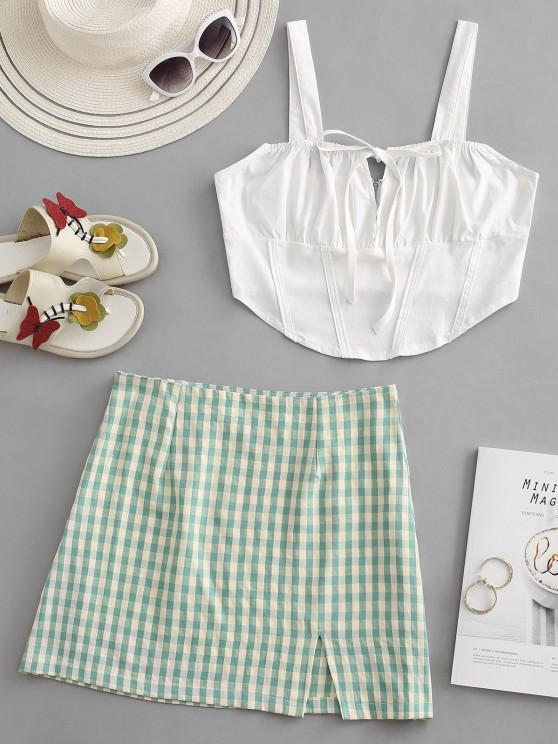 ladies Tie Corset Top and Gingham Split Hem Skirt Set - GREEN M