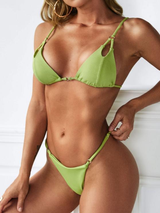 chic ZAFUL Ribbed Peek A Boo Skimpy String Bikini Swimwear - GREEN S