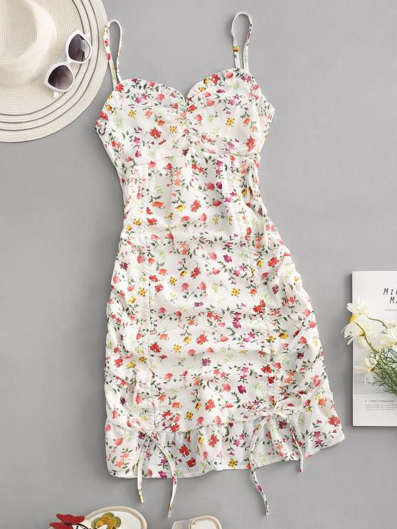 online Ditsy Print Ruffle Cinched Ruched Slinky Sundress - MULTI L