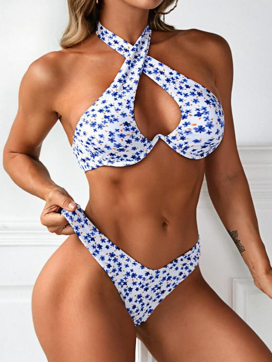 lady ZAFUL Ditsy Floral High Cut Monowire Bikini Swimwear - BLUE S