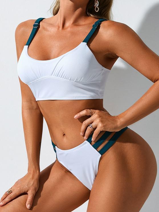 ZAFUL Gerippte Kontrastfarbene Tankini Badebekleidung mit Hohem Beinausschnitt - Weiß S