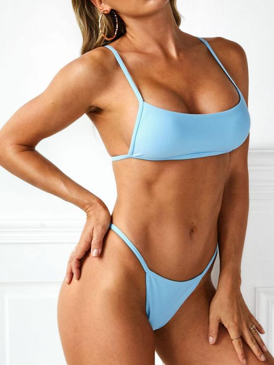 ZAFUL Cheeky Tie Back Tanga Bikini Swimwear - أزرق فاتح S
