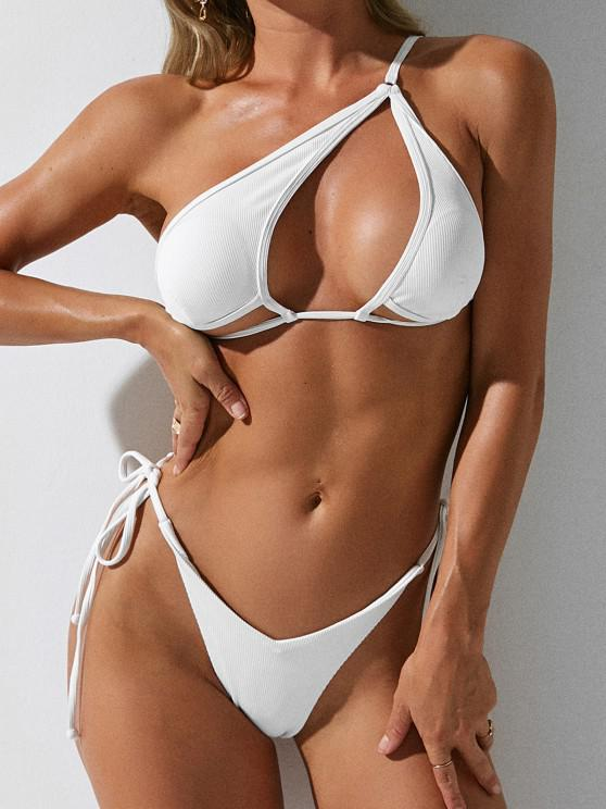 ZAFUL Ribbed Cutout One Shoulder String Tie Bikini Swimwear - أبيض S