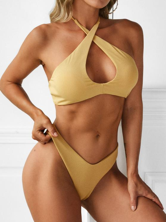 ZAFUL Ribbed Criss Cross High Cut Bikini Swimwear - اصفر غامق S