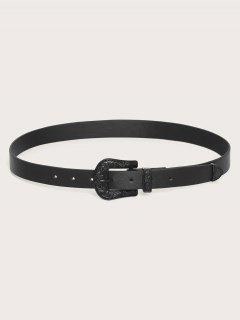 Retro Floral Engraved Solid Buckle Belt - Black