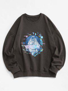 Planet Astronaut Graphik Hängender Schulter Sweatshirt - Dunkelgrau L