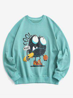 Cartoon Buchstabedruck Fallschulter Sweatshirt - Blau M
