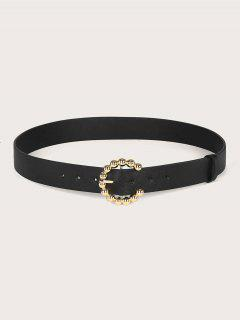 Solid Metallic Round Ball Embellished C-Shape Buckle Belt - Black
