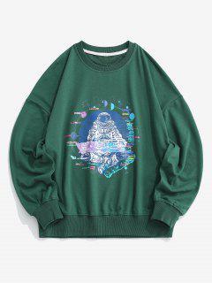 Planet Astronaut Graphic Drop Shoulder Sweatshirt - Green L