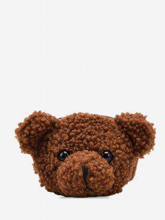 クマの形のふわふわクロスボディバッグ - 褐色